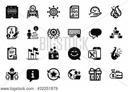 Vector Set Of Business Icons Related To International Globe, Gift Box And Talk Bubble Icons. Winner