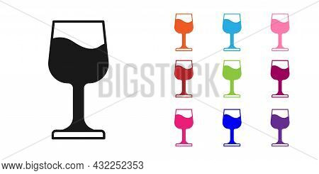Black Wine Glass Icon Isolated On White Background. Wineglass Sign. Set Icons Colorful. Vector