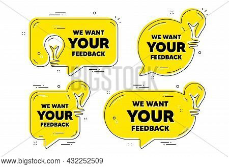 We Want Your Feedback Symbol. Idea Yellow Chat Bubbles. Survey Or Customer Opinion Sign. Client Comm