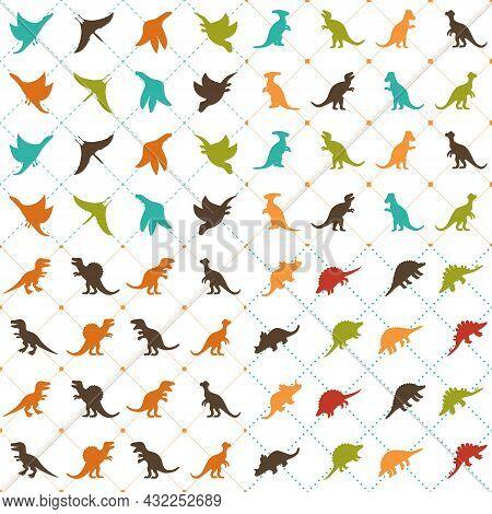 Dinosaur Seamless Pattern Vector. Tyrannosaurus, Brontosaurus, Stegosaurus, Triceratops