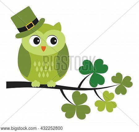 Cute Green Owl Wearing St. Patrick Hat Sitting On Shamrock Branch. Vector St. Patrick. St. Patrick O
