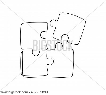 Continuous One Line Drawing Of A Joined Pieces Of Puzzle Game. Group Teamwork, Cooperation And Busin