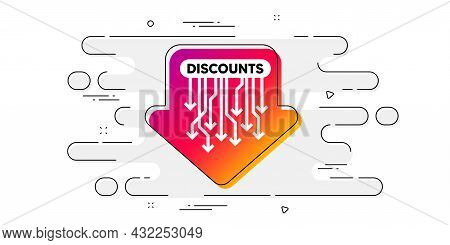 Discounts Banner. Geometric Ad Banner On Flow Pattern. Special Offer Sticker. Arrow Tag Icon. Transi