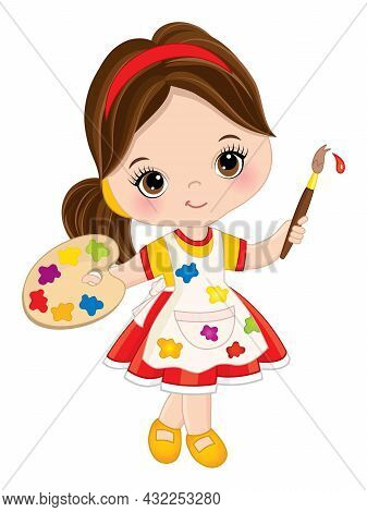 Vector Cute Little Girl Painting. Vector Little Girl With Palette And Paint Brush. Beautiful Little