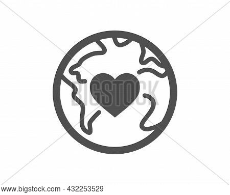 World Donation Icon. Global Charity Sign. Online Donate Symbol. Classic Flat Style. Quality Design E
