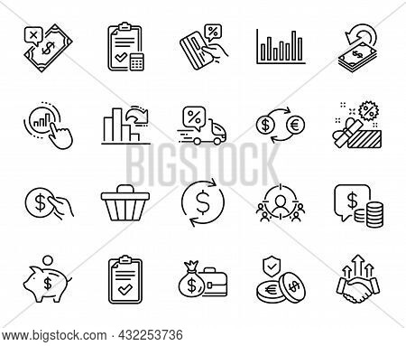 Vector Set Of Salary, Coins And Delivery Discount Line Icons Set. Decreasing Graph, Rejected Payment