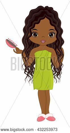 Vector Beautiful African American Girl Wrapped In Towel And Holding Hair Brush. Black Girl Has Long,