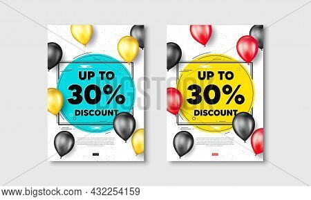 Up To 30 Percent Discount. Flyer Posters With Realistic Balloons Cover. Sale Offer Price Sign. Speci