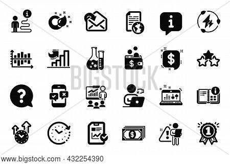 Vector Set Of Education Icons Related To Instruction Info, Growth Chart And Search Employee Icons. C