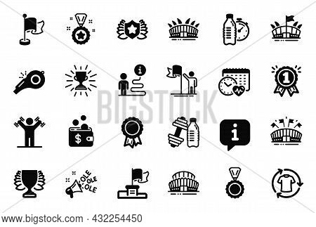 Vector Set Of Sports Icons Related To Arena, Arena Stadium And Winner Flag Icons. Sports Stadium, Wi