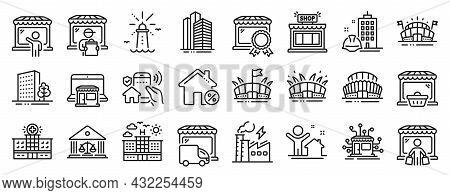 Set Of Buildings Icons, Such As Court Building, Skyscraper Buildings, Arena Stadium Icons. Arena, Li