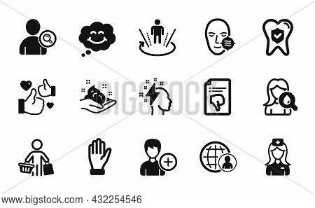 Vector Set Of Hospital Nurse, Skin Care And International Recruitment Icons Simple Set. Dental Insur