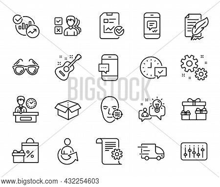 Vector Set Of Presentation Time, Truck Delivery And Sunglasses Line Icons Set. Idea, Problem Skin An