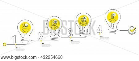 Business Infographic Timeline With 4 Steps. Lightbulb Journey Path Infographics. Workflow Process Di