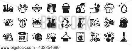 Set Of Cleaning Icons, Such As Dryer Machine, Dont Touch, Cleaning Spray Icons. Household Service, P