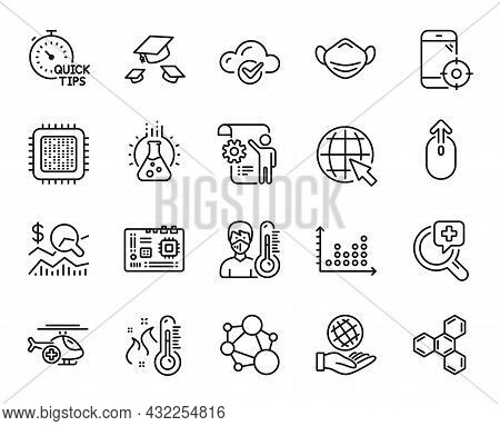 Vector Set Of Settings Blueprint, Medical Analyzes And Chemistry Lab Line Icons Set. Motherboard, Th