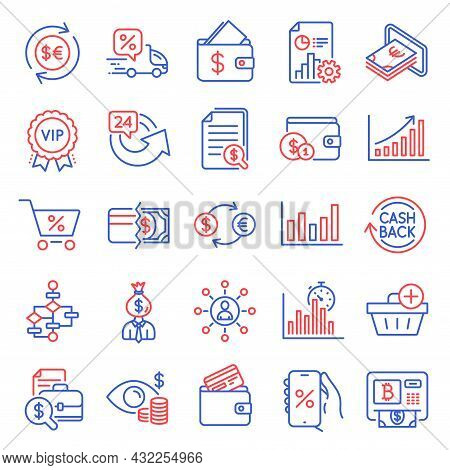 Finance Icons Set. Included Icon As Payment Methods, Discounts App, Column Chart Signs. Delivery Dis