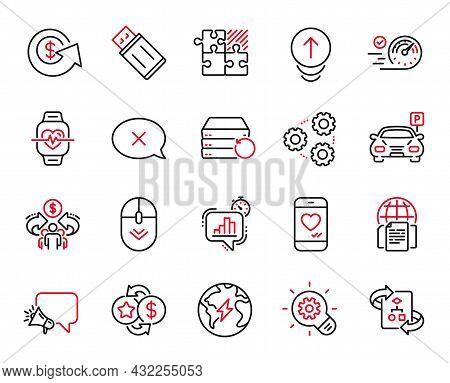 Vector Set Of Technology Icons Related To Cardio Training, Gears And Parking Icons. Love Chat, Swipe