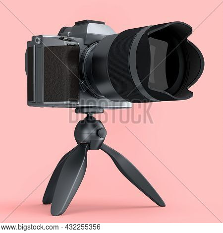 Concept Of Nonexistent Silver Dslr Camera With Macro Lens And Tripod Isolated On A Pink Background.