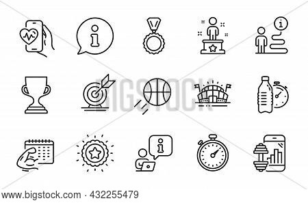 Sports Icons Set. Included Icon As Medal, Target Goal, Fitness Water Signs. Cardio Training, Fitness