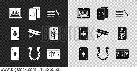 Set Laptop And Slot Machine, Deck Of Playing Cards, Casino Chips, Playing With Diamonds, Horseshoe,