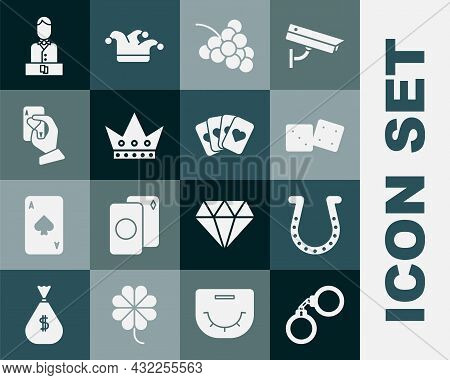 Set Handcuffs, Horseshoe, Game Dice, Casino Slot Machine With Grape, King Playing Card, Holding Card