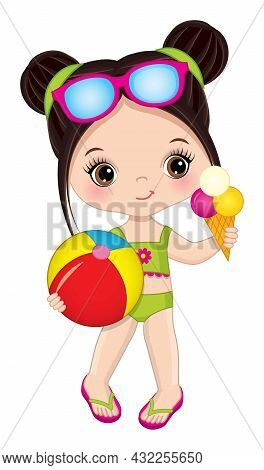 Cute, Beautiful Little Girl Wearing Swimsuit, Sunglasses And Flip-flops Holding Beach Ball And Ice C