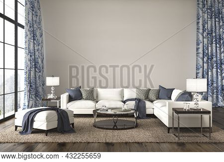 Coastal Design Living Room. Mock Up White Wall In Cozy Home Interior Background. Hampton Style 3d Re