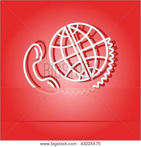 Global communication. Paper sticker as bookmark. Raster illustration.