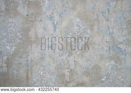 Gray Concrete Shabby Wall With Elegant Vintage Volumetric Patterns.