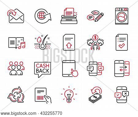 Vector Set Of Line Icons Related To Typewriter, Upload File And Receive Mail Icons. Idea, Cashback A