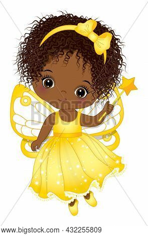 Cute Black Little Fairy Wearing Yellow Dress, Headband And Holding Magic Wand. Little Fairy Is Curly