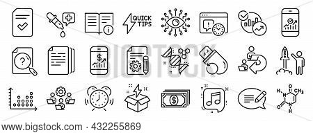 Set Of Education Icons, Such As Artificial Intelligence, Smartphone Statistics, Message Icons. Chemi
