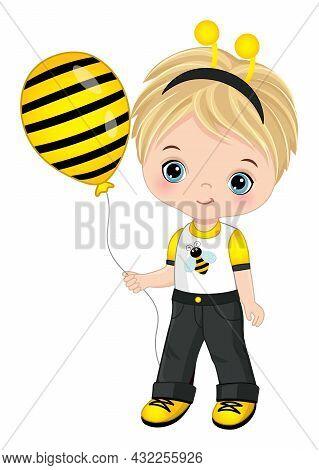 Cute Little Boy Wearing Bee Headband Antenna. Vector Bee. Blond Little Boy With Blue Eyes Holding Ai