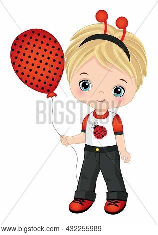 Cute Little Boy Wearing Ladybug Antenna And Outfit. Vector Ladybug. Blond Little Boy With Air Ballon