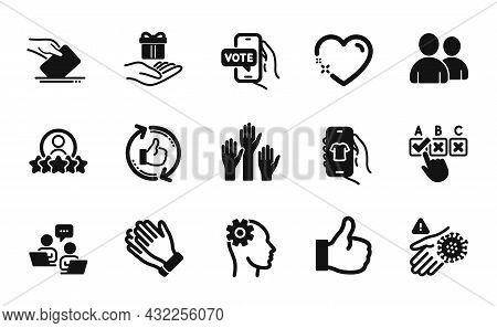 Vector Set Of Loyalty Program, Users And Engineering Icons Simple Set. Human Rating, Correct Checkbo