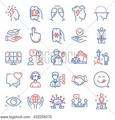 People Icons Set. Included Icon As Baggage App, Video Conference, Teamwork Questions Signs. Delivery