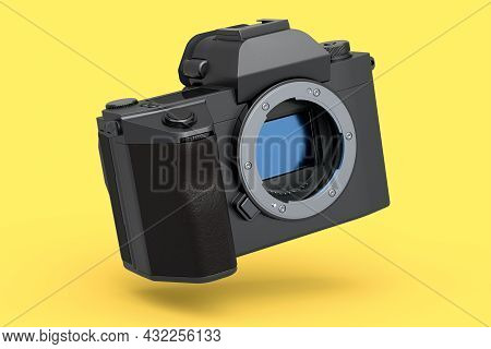 Concept Of Nonexistent Dslr Camera Isolated On A Yellow Background. 3d Rendering And Illustration Of