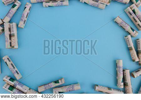 Frame Made Of Ukrainian 500 Banknotes. Ukrainian Money Background.