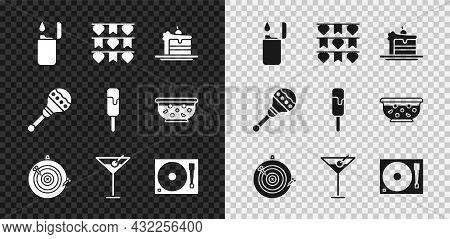 Set Lighter, Carnival Garland With Flags, Cake, Classic Dart Board Arrow, Martini Glass, Vinyl Playe