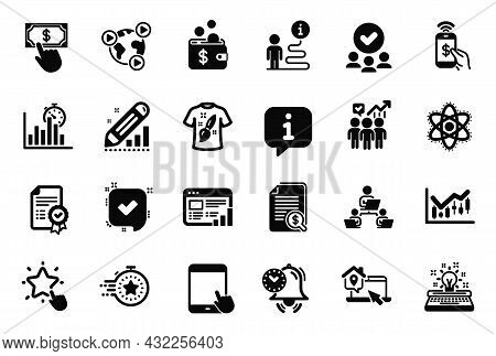 Vector Set Of Education Icons Related To Payment Click, Timer And Approved Group Icons. Financial Di