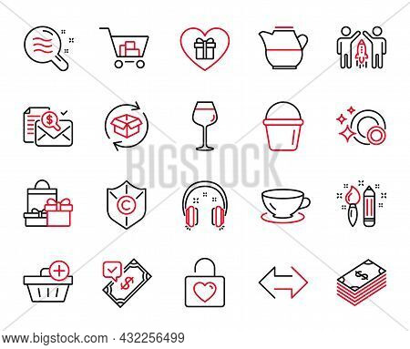 Vector Set Of Line Icons Related To Shopping, Accepted Payment And Accounting Report Icons. Skin Con