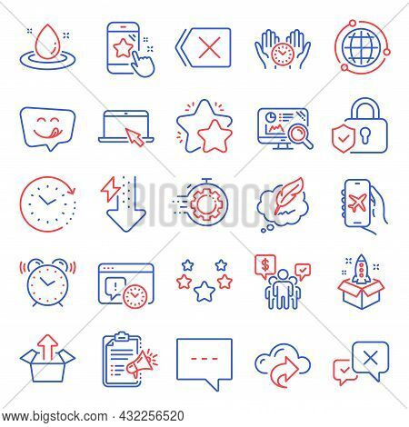 Technology Icons Set. Included Icon As Security Lock, Energy Drops, Star Rating Signs. Project Deadl