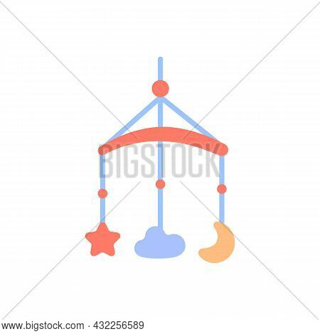Crib Mobile Icon. Flat Color Baby Toy Isolated On White Background. Cute Decor For Newborns Room Ele