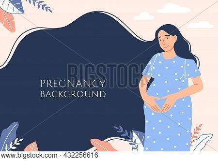 Pregnancy Background. Flat Happy Smiling Pregnant Woman Waiting For Baby Birth Holding Belly. Cute C