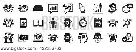 Set Of Technology Icons, Such As Group, Music App, Speedometer Icons. Augmented Reality, Work Home,