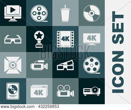 Set Movie, Film, Media Projector, Film Reel, Screen Tv With 4k, Paper Glass Water, Trophy, 3d Cinema