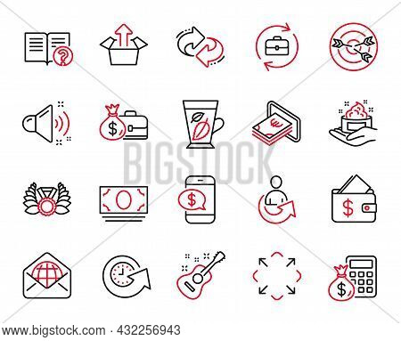 Vector Set Of Line Icons Related To Human Resources, Loud Sound And Refresh Icons. Maximize, Update