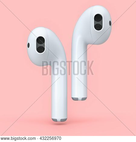 Wireless White Headphones Isolated On Pink Background. 3d Rendering Of Accessories For Listening Mus