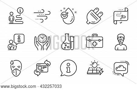 Science Icons Set. Included Icon As Chemistry Lab, First Aid, Refresh Website Signs. Target Path, So